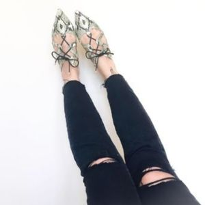 Topshop Snakeskin Pointy Lace-up Flats 6 Ghille